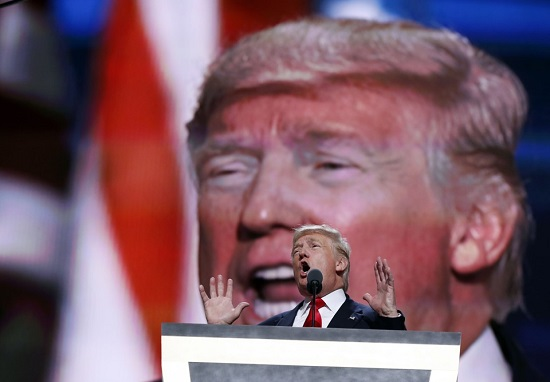 Republican presidential candidate Donald Trump, speaks during the final day of the Republican National Convention in Cleveland, Thursday, July 21, 2016. (AP Photo/Carolyn Kaster)